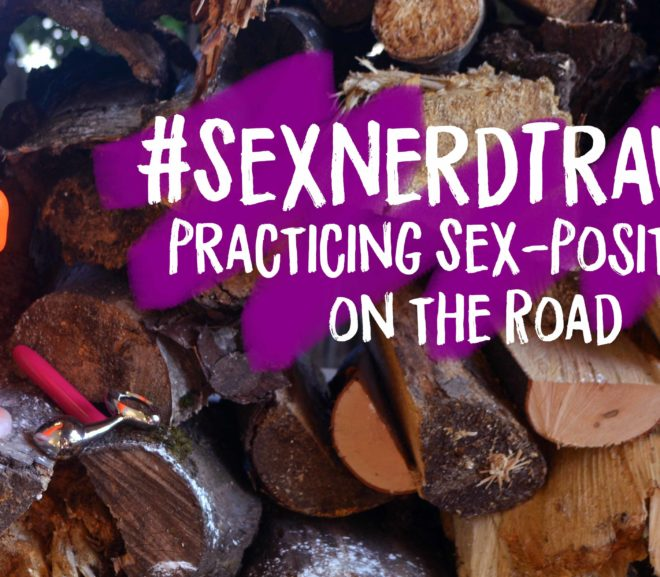 #SexNerdTravels Sex-positivity on the road, dildo, butt plug and vibator on wood pile